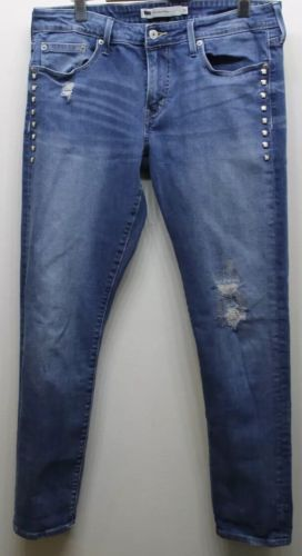 Primary image for Levi's Women Crop Jeans Boyfriend Skinny With Mother Of Pearl Accent Buttons 30