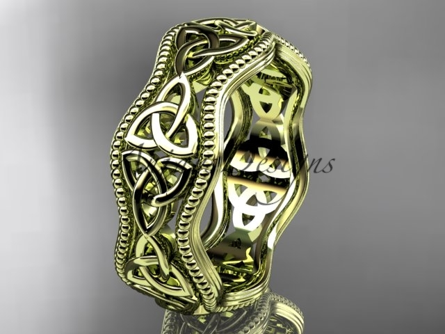 Primary image for Fancy Celtic bridal ring, 14kt yellow gold celtic trinity knot engagement ring,