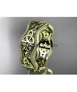 Fancy Celtic bridal ring, 14kt yellow gold celtic trinity knot engagemen... - $875.00