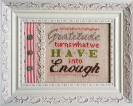 CLEARANCE Gratitude Is Enough Words Of Wisdom 32ct linen kit Pine Mtn Designs - $12.60
