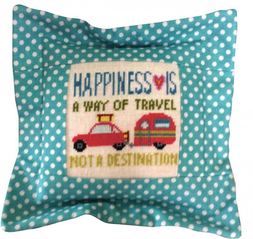 CLEARANCE Happiness Is A Way Of Travel Words Of Wisdom 32ct linen kit  - $12.60