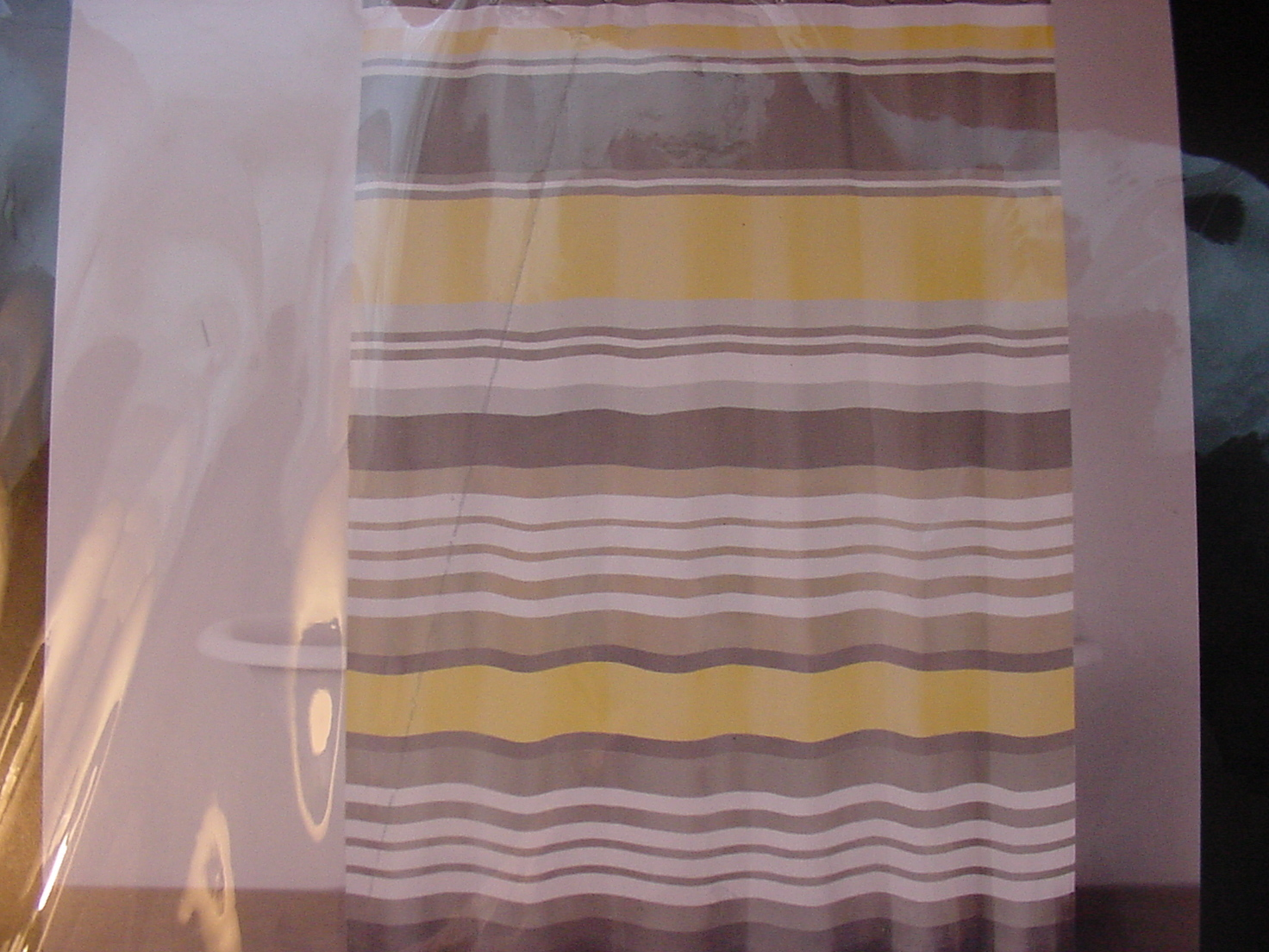 DKNY Urban Lines Yellow Gray Taupe White Stripe Shower