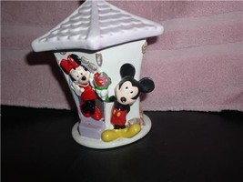 Disney Mickey Mouse brings flowers to Minnie Mouse porcelain canister Te... - $48.37