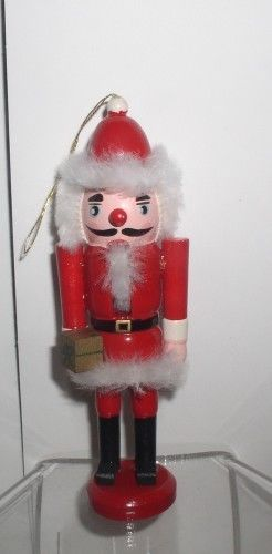 Primary image for Nutcracker Santa 5 inch wood ornament with lever to open mouth