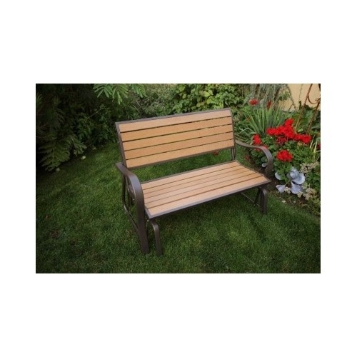 Outdoor Glider Bench Faux Wood Garden Seat Deck Loveseat Rocker Porch Glider image 2