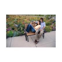Outdoor Glider Bench Faux Wood Garden Seat Deck Loveseat Rocker Porch Glider image 3