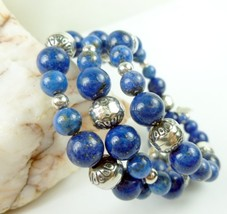 Lapis Lazuli Sterling Gemstone Southwest Design Wrap Beaded Bracelet - $63.00