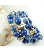 Lapis Lazuli Sterling Gemstone Southwest Design Wrap Beaded Bracelet - $63.00