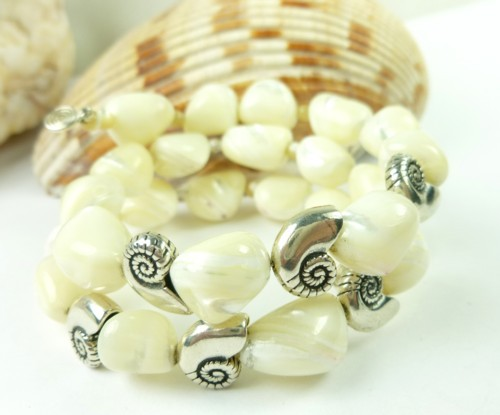 Mother of pearl nugget sterling nautilus charm beaded bracelet 3857766d 1
