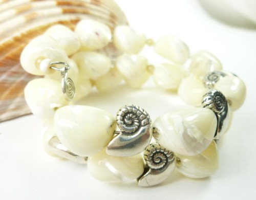 Mother of pearl nugget sterling nautilus charm beaded bracelet d585a169 1