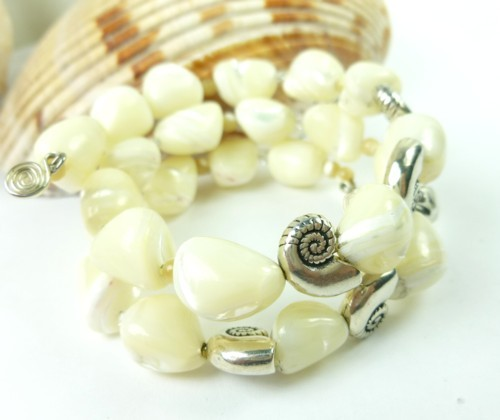 Mother of pearl nugget sterling nautilus charm beaded bracelet 217299f7 1