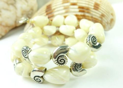 Mother of pearl nugget sterling nautilus charm beaded bracelet bc5de25f 1