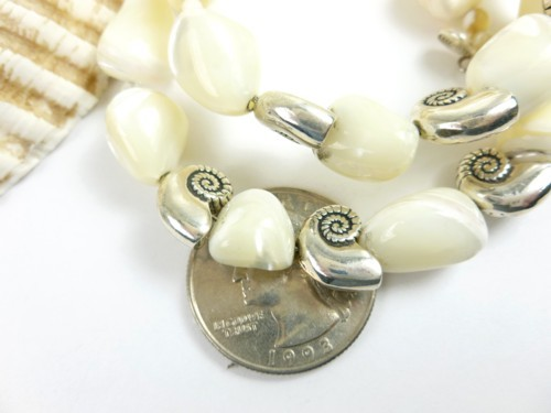 Mother of pearl nugget sterling nautilus charm beaded bracelet cf9b288f 1