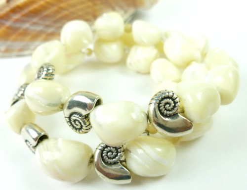 Mother of pearl nugget sterling nautilus charm beaded bracelet f7d1e58f 1