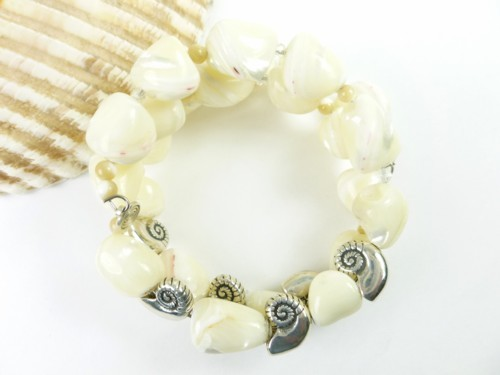 Mother of pearl nugget sterling nautilus charm beaded bracelet 073f65f2 1