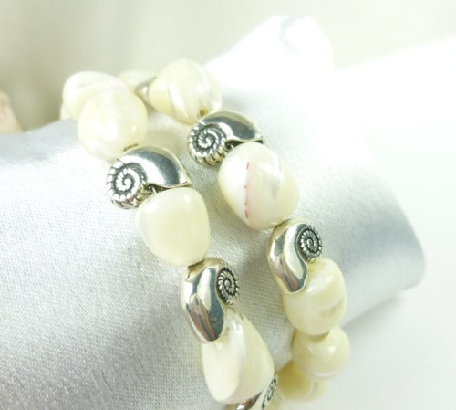 Mother of pearl nugget sterling nautilus charm beaded bracelet cfcf5a22 1