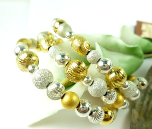 Sterling silver gold two tone beaded coil bracelet memory wire  a88019ab 1
