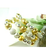 Sterling Silver Gold Two Tone Beaded Coil Bracelet Memory Wire  - $68.00