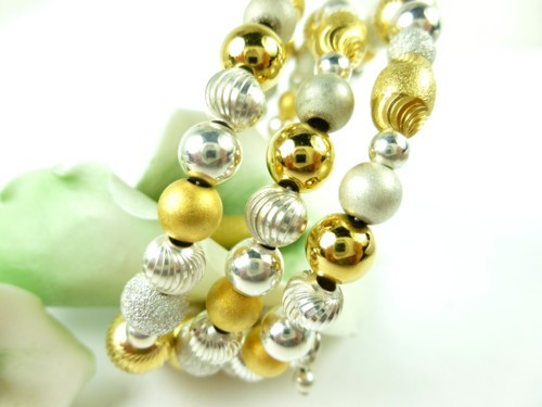 Sterling silver gold two tone beaded coil bracelet memory wire  7859f3e0 1