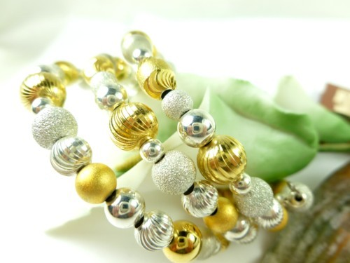 Sterling silver gold two tone beaded coil bracelet memory wire  a280fb53 1