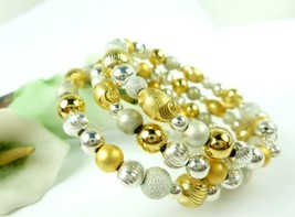 Sterling silver gold two tone beaded coil bracelet memory wire  156ebfaf 1  thumb200