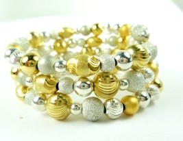 Sterling silver gold two tone beaded coil bracelet memory wire  81d31182 1  thumb200