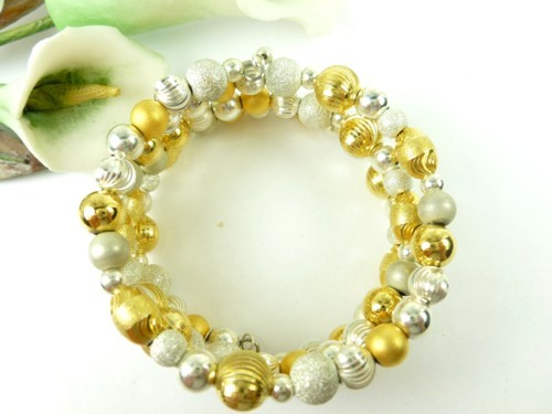 Sterling silver gold two tone beaded coil bracelet memory wire  d0f502c8 1