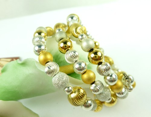Sterling silver gold two tone beaded coil bracelet memory wire  bb8e13fd 1