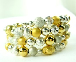 Sterling silver gold two tone beaded coil bracelet memory wire  9e188f74 1  thumb200