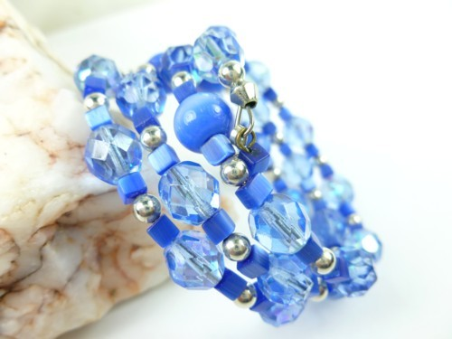 Royal blue cats eye faceted glass beaded memory wire bracelet fa362cac 1