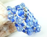 Royal blue cats eye faceted glass beaded memory wire bracelet fa362cac 1  thumb155 crop