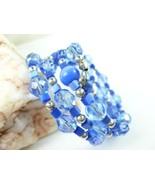Royal Blue Cats Eye Faceted Glass Beaded Coil W... - $38.00