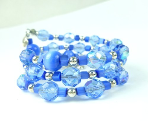 Royal blue cats eye faceted glass beaded memory wire bracelet 69ad5fa3 1