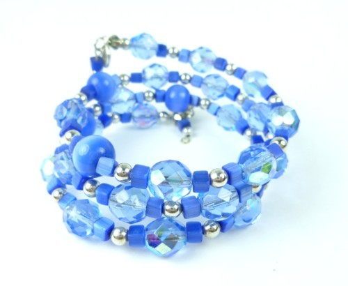 Royal blue cats eye faceted glass beaded memory wire bracelet 4a458070 1