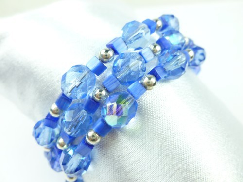 Royal Blue Cats Eye Faceted Glass Beaded Coil Wrap Bracelet
