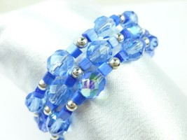Royal blue cats eye faceted glass beaded memory wire bracelet 014172fe 1  thumb200