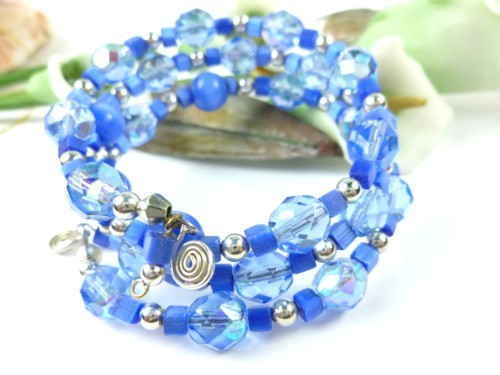 Royal blue cats eye faceted glass beaded memory wire bracelet 11c53030 1