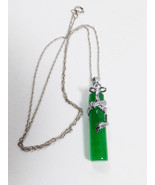 Green Jade Stick in 18K White Gold Plated Dragon Pendant & chain Necklac... - $37.87