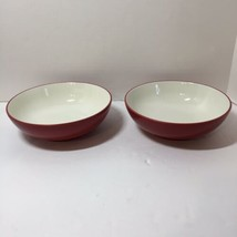 """2 Soup Cereal Bowls Raspberry Colorwave Noritake Red White 7"""" - $18.37"""