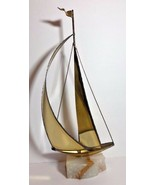 Vintage Brass Sailboat Mid Century Modern Mario Jason Nautical Onyx Stone Base - $39.59