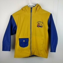 Vintage Wippette Kids Zip Jacket Yellow Blue Construction Hooded Boy's 5-6 - $22.44
