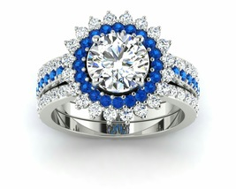 Blue Two Piece Engangement Ring Solid Silver - $179.99