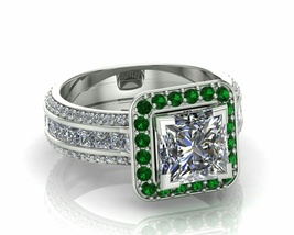 Solid Silver Engagement Ring with Green Emerald... - $179.99