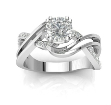 Engagement Ring in 14 KT with White Moissanite ... - $995.00