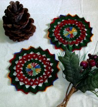 Red Petals and Holiday Green Fiber Art Trinkets... - $10.00