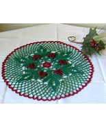 Holly Berries and Leaves Mat - Crochet Holiday Art Decor by RSS Designs In Fiber - $20.00