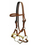 WESTERN ENGLISH SADDLE HORSE LEATHER HEADSTALL HALF BREED SIDE PULL w/ 5... - $49.30