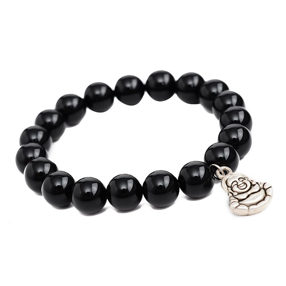 Primary image for Black Agate Maitreya Beads Bracelet; Men Woman Yoga Buddha Prayer Meditation
