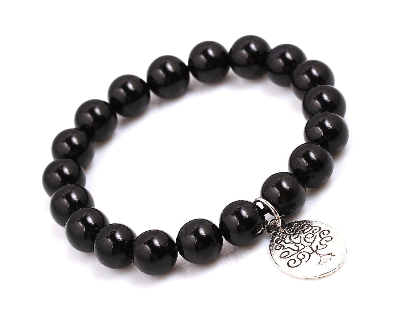 Black Agate Energy Beads Bracelet; Men Woman Buddha Prayer Silver Tree of Life