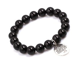 Black Agate Energy Beads Bracelet; Men Woman Buddha Prayer Silver Tree o... - $19.95